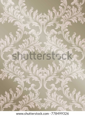 Baroque pattern shiny background Vector. Vintage ornament decor textures