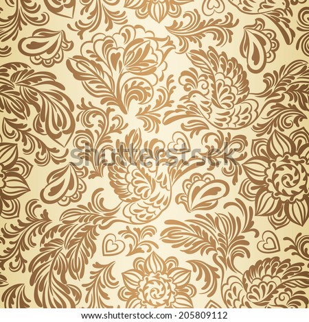Baroque seamless pattern or background with birds and flowers in gold style - stock vector