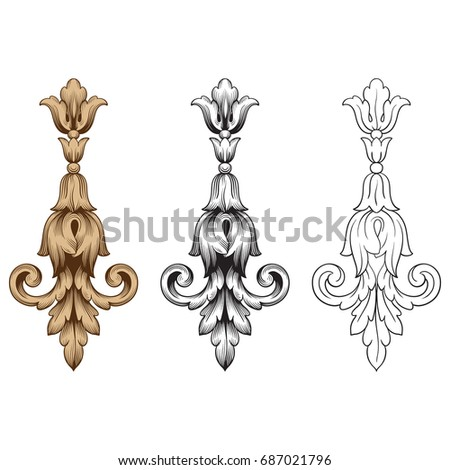 Baroque ornament stock images royalty free images for Baroque design elements