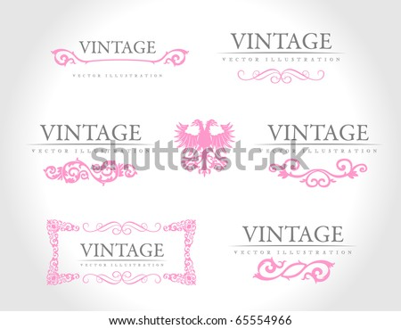 Baroque vintage royal design elements. Vector illustration - stock vector
