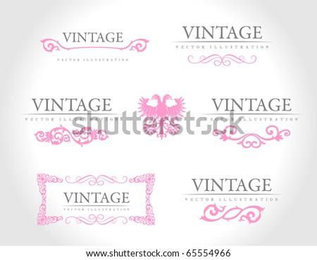 Baroque vintage royal design elements. Vector illustration. Pink design elements - stock vector