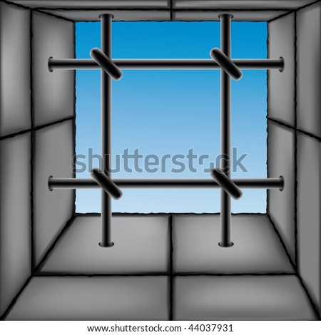Barred window as a design element. Each object is fully editable and is located on a separate layer - stock vector
