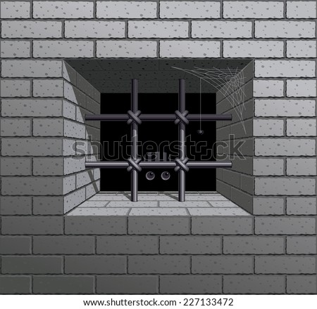 Barred window in the brick wall. Eps8. CMYK. Organized by layers. Global colors. Gradients used. - stock vector