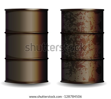 Barrel and rusted barrel - stock vector