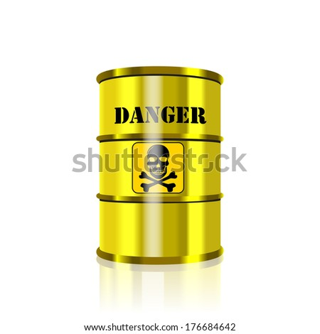 Barrel for storage of hazardous substances on a white background.