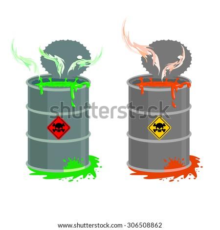 Barrel of toxic waste. Biohazard open container. Grey with red barrel of radioactive liquid. Green acid emerged. Vector illustration - stock vector