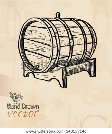 barrel, wine, element for design, hand drawing, vector