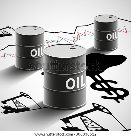 Barrels of oil, graphics, and oil pumps. Stock Vector illustration. - stock vector