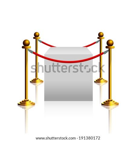Barrier rope and white box - stock vector