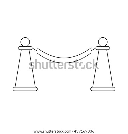 Barrier rope icon, outline style - stock vector
