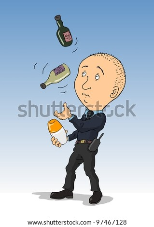 Bartender - juggling a security guard with two bottles and shakers - stock vector