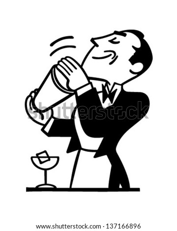 Bartender Mixing Drink - Retro Clip Art Illustration - stock vector
