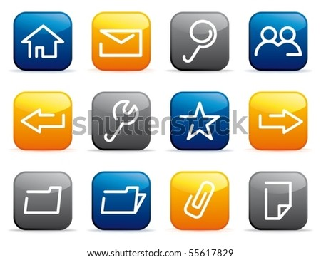 Base computer icons on colour buttons - stock vector
