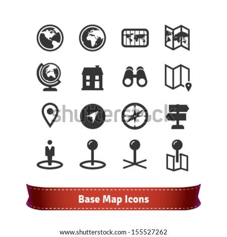 Base Map Icon Set - stock vector