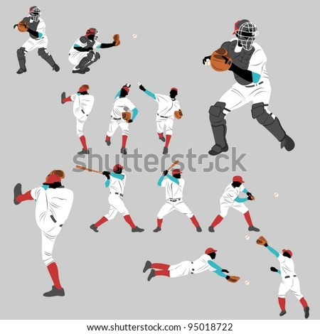Baseball action play home run lots of pose and position action - stock vector
