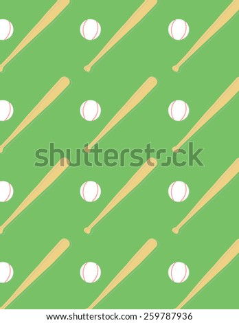 Baseball and bat pattern over green color background - stock vector