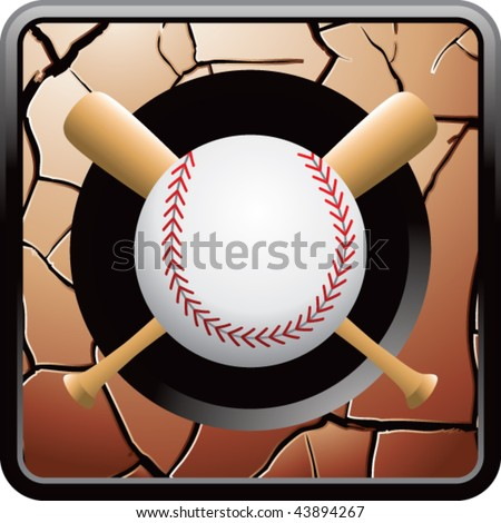baseball and crossed bats on bronze cracked web button - stock vector
