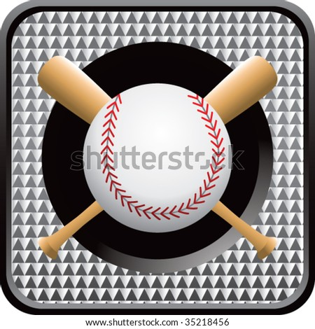 baseball and crossed bats on checkered web icon - stock vector
