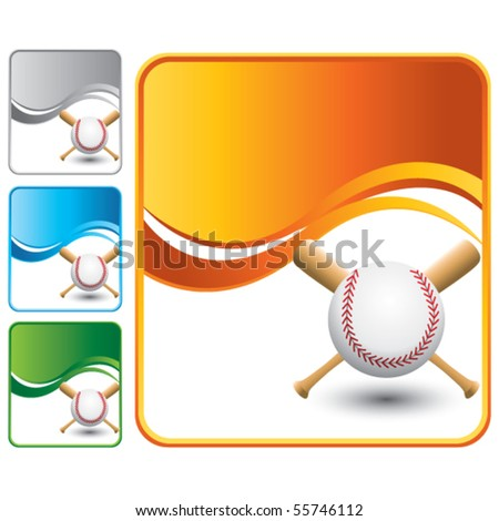 baseball and crossed bats on colored wave backgrounds - stock vector