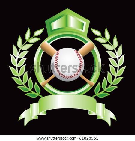 baseball and crossed bats on green royal display - stock vector