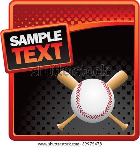 baseball and crossed bats on red and black halftone advertisement - stock vector