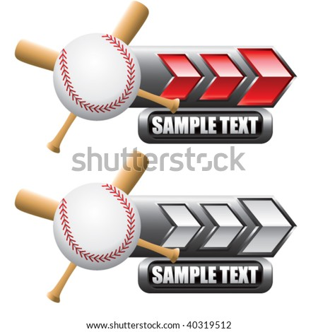 baseball and crossed bats on red and white arrow nameplate banners - stock vector