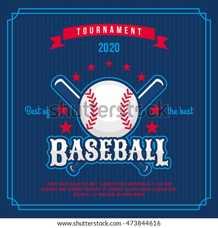Baseball badge, logo, emblem tournament in vintage retro style template.