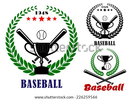 Baseball badges or emblems logo in three designs incorporating a laurel wreath, crossed bats, ball and trophy, vector illustration on white