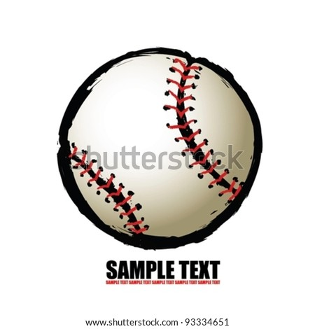 baseball ball - free hand isolated vector illustration - stock vector
