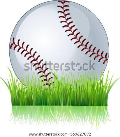 Baseball ball in grass - stock vector