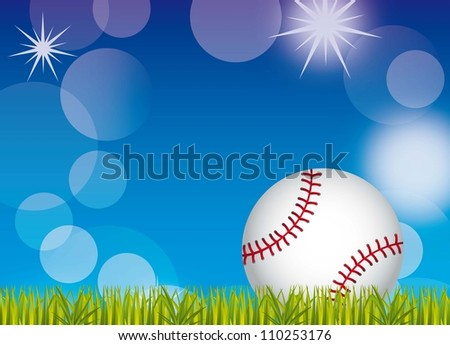 baseball ball over grass and sky background. vector illustration - stock vector