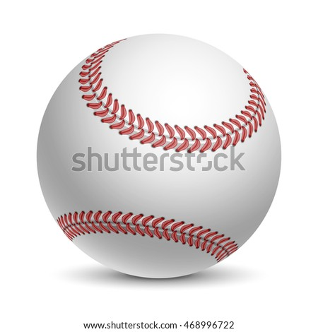 Baseball Ball. Sports equipment. Realistic Vector Illustration. Isolated on White Background.