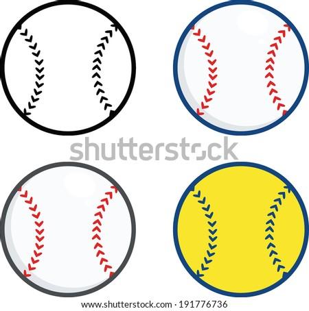 Baseball Balls. Vector Collection Set - stock vector