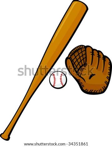baseball bat glove ball stock vector 34351861 shutterstock rh shutterstock com Baseball Bat Outline Baseball Bat and Ball Clip Art