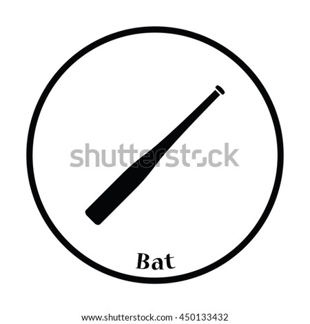 Baseball bat icon. Thin circle design. Vector illustration. - stock vector