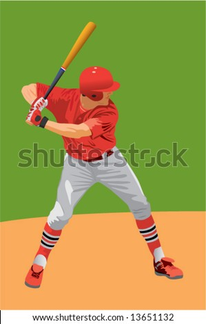 baseball batter in red uniform - stock vector