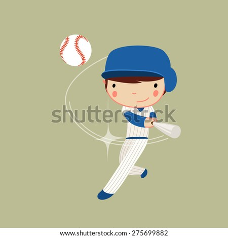 baseball boy in action. hitter character. vector illustration - stock vector