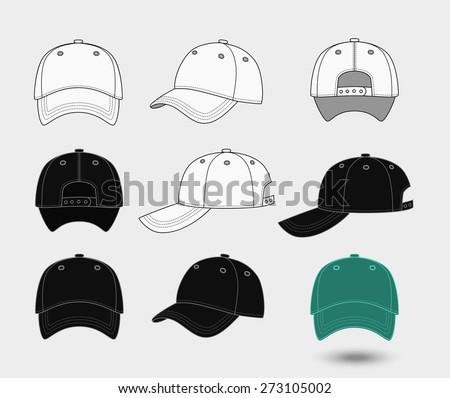 Baseball cap. Back, front and side view. Uniform fashion hat, design sport clothing. Vector illustration - stock vector