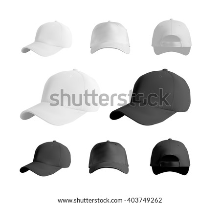 Baseball cap black and white templates, front, side, back views set, vector eps10 illustration isolated on white background - stock vector