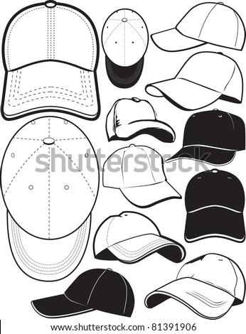 Baseball Cap Collection - stock vector