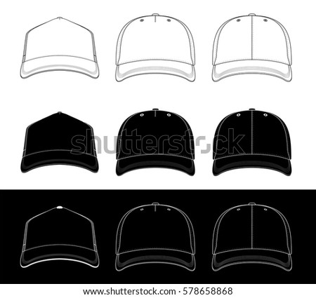 Baseball Cap Set Three Caps Front Stock-Vektorgrafik 578658868 ...
