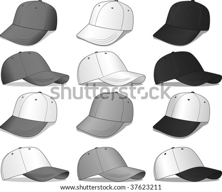 Baseball Caps - a variety of grey, black, and white caps - these are all vector illustrations
