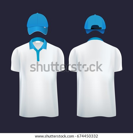 Baseball caps and casual t shirt polo in different sides. Vector illustrations