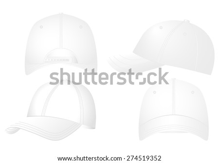 Baseball caps set on a white background. - stock vector
