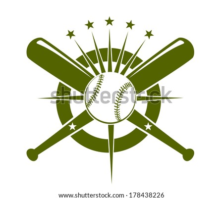 Baseball championship icon or emblem logo with a ball and crossed bats on a circle with radiating stars in olive green on white - stock vector