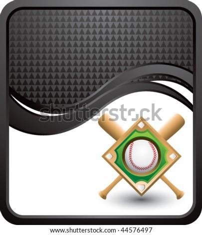 baseball diamond black checkered wave backdrop - stock vector