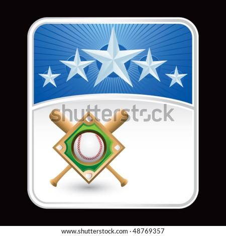 baseball diamond blue star backdrop - stock vector