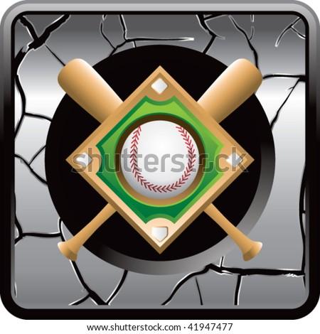 baseball diamond cracked silver web button - stock vector