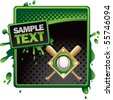 baseball diamond green and black halftone grungy ad - stock photo