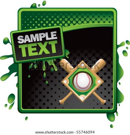 baseball diamond green and black halftone grungy ad - stock vector